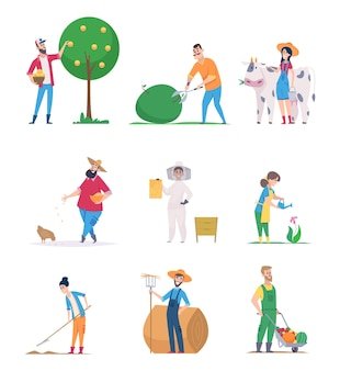 Giardinieri e agricoltori. caratteri felici crescita verdure agricoltura lavoratori vettore fumetto persone. agricoltura e raccolta del giardiniere, illustrazione dell'agricoltura dell'agricoltore