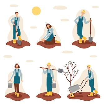 Set di giardinieri. persone, uomini e donne piantano in primavera nel giardino. illustrazione in stile cartone animato
