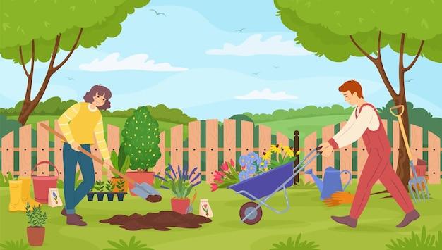 Giardinieri che si prendono cura dell'uomo e della donna del giardino con illustrazione vettoriale di attrezzi da giardinaggio