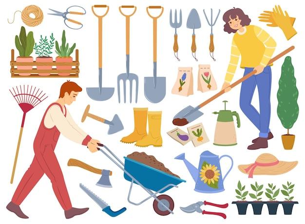 Giardinieri con attrezzi da giardinaggio, piante orticole, pala, annaffiatoio, semi, vettore, set