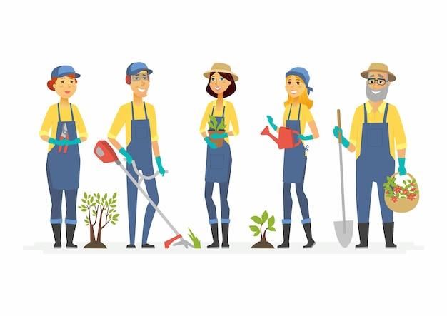I giardinieri con gli strumenti - i caratteri della gente del fumetto hanno isolato l'illustrazione. lavoratori sorridenti, volontari in tuta lavorano in giardino, parco cittadino, stand con vanga, pianta, annaffiatoio, tosaerba