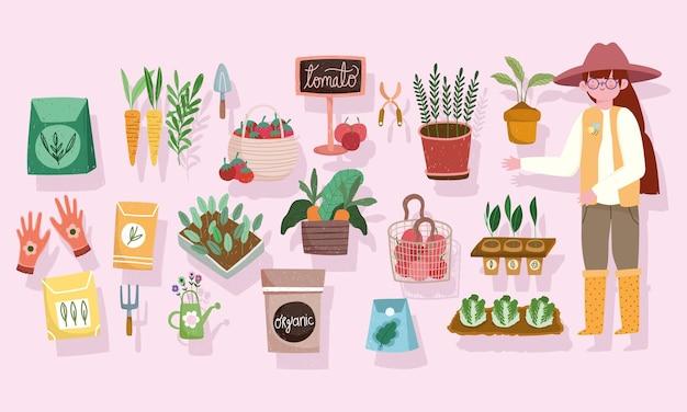 Giardinaggio agricoltura persone verdure strumenti icone illustrazione