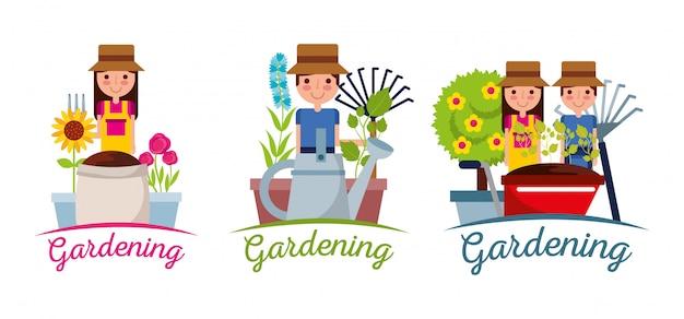 Giardinaggio banner persone giardiniere attrezzature albero pianta e fiori