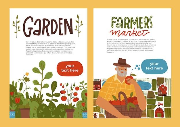 Giardinaggio un'idea di set di banner di agricoltura locale e raccolta di foglie di raccolta biologica di frutta e verdura...