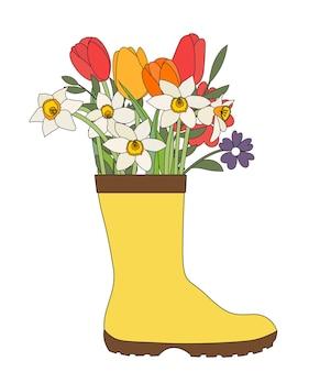 Stivale da giardinaggio con fiori tulipani e narcisi illustrazione