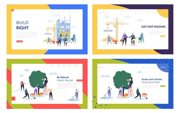 Set di modelli di pagina di destinazione del sito web di processo di giardinaggio e costruzione.