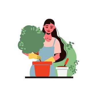 Composizione di giardinaggio con il giardiniere che pianta l'albero nell'illustrazione del vaso di fiori