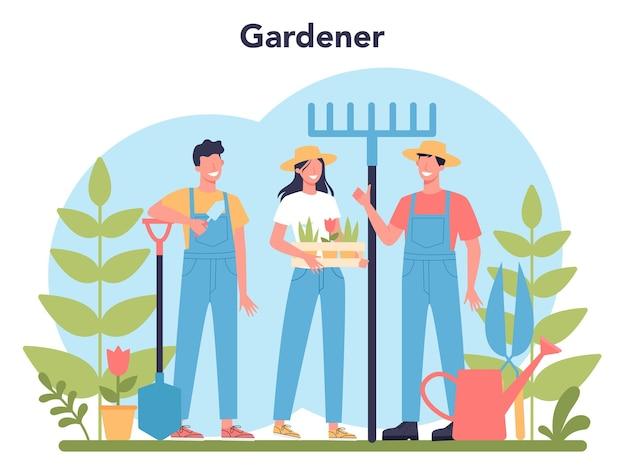 Concetto di giardinaggio. idea di attività di designer orticolo. carattere che pianta alberi e cespugli. attrezzo speciale per lavoro, pala e vaso di fiori, tubo flessibile.