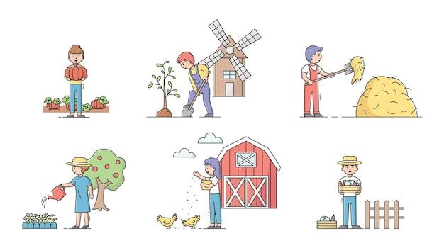 Concetto di giardinaggio. insieme di uomini e donne che coltivano, piantano e lavorano nella fattoria. i personaggi danno da mangiare agli animali, si prendono cura delle piante, fanno un lavoro diverso in fattoria.