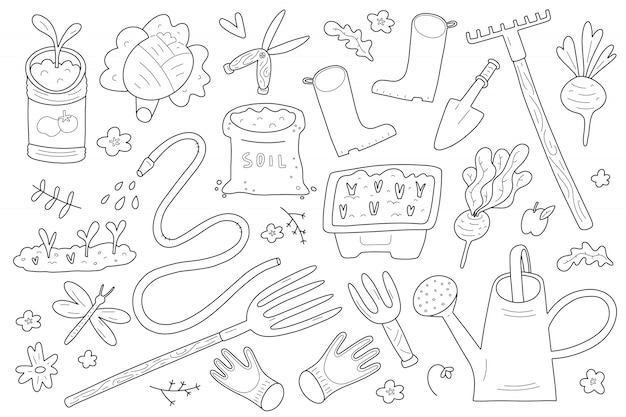 Set di illustrazioni di doodle di giardinaggio