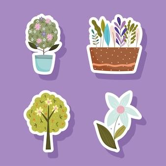 Set di adesivi di elementi di giardinaggio