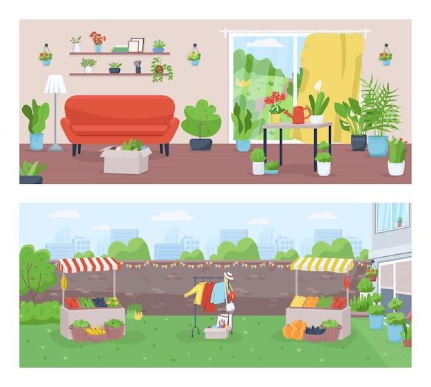 Insieme dell'illustrazione di colore piatto di giardinaggio e agricoltura