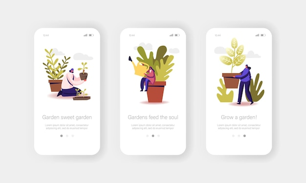 Modello di schermata di bordo della pagina dell'app mobile per hobby giardinaggio o floristica