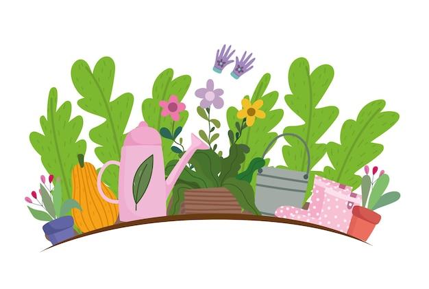 Giardinaggio, fiori piante foglie zucca annaffiatoio e illustrazione di stivali di plastica