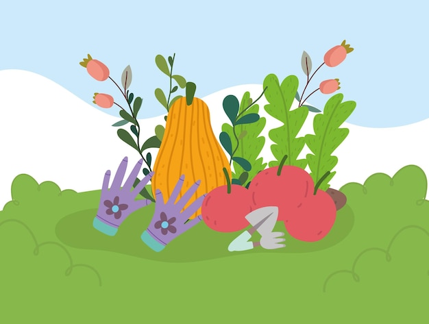 Giardinaggio, giardino e agricoltura zucca mele fiori piante illustrazione