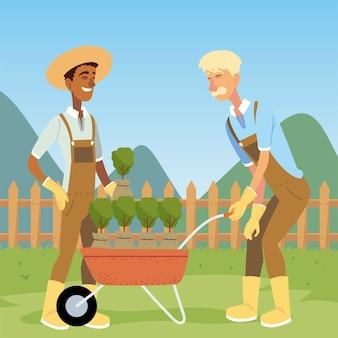 Giardinaggio, giardiniere uomini con carriola e illustrazione di piante
