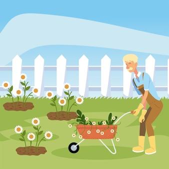 Giardinaggio, giardiniere con illustrazione di fiori di piantagione di carriola