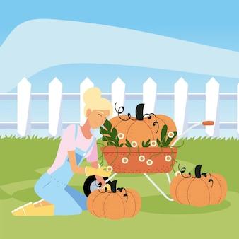 Giardinaggio, giardiniere donna con fiori carriola e illustrazione di zucche