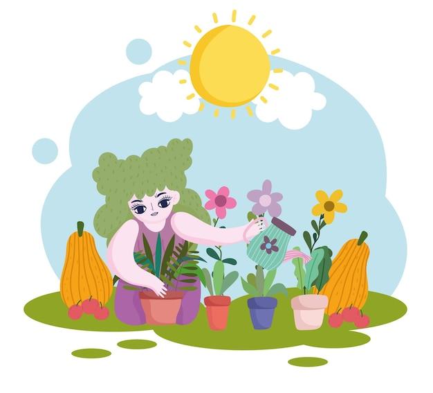 Giardinaggio, ragazza tiene annaffiatoio piante zucca e mele illustrazione