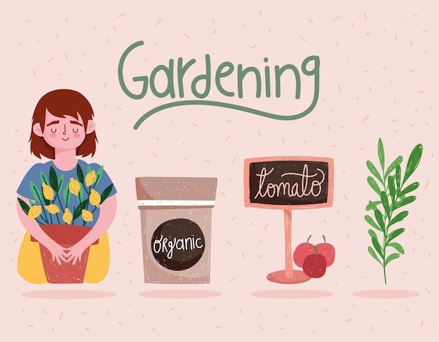 Ragazza di giardinaggio con l'insegna del pacchetto della pianta e l'illustrazione del fumetto dei pomodori