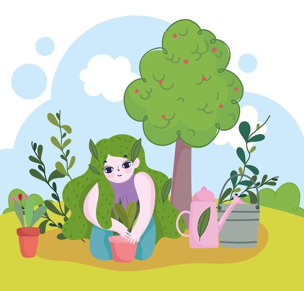 Giardinaggio, ragazza con piante in annaffiatoio in vaso e illustrazione dell'albero
