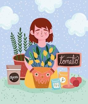 Giardinaggio, ragazza con pianta in vaso frutti pomodori confezione semi organici illustrazione