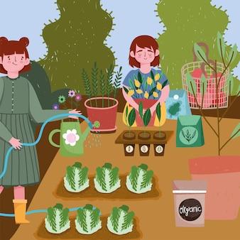 Giardinaggio, ragazze che spruzzano l'illustrazione dei pacchetti dei semi di plantantion dell'acqua