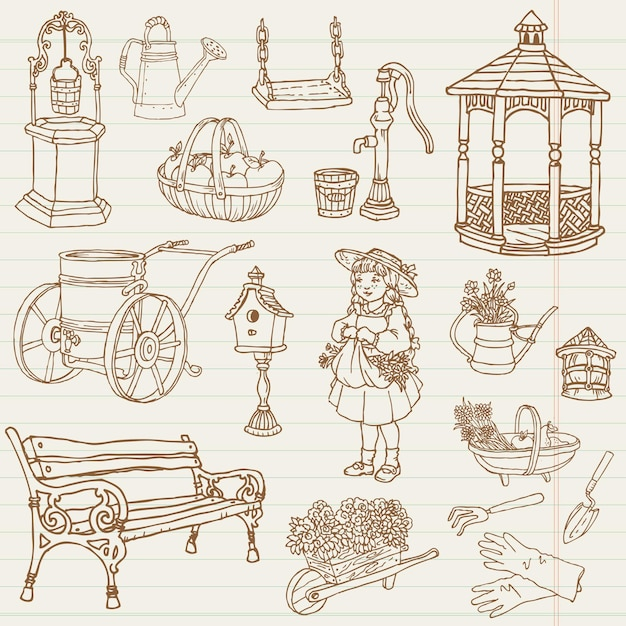 Illustrazione di scarabocchi disegnati a mano di giardinaggio