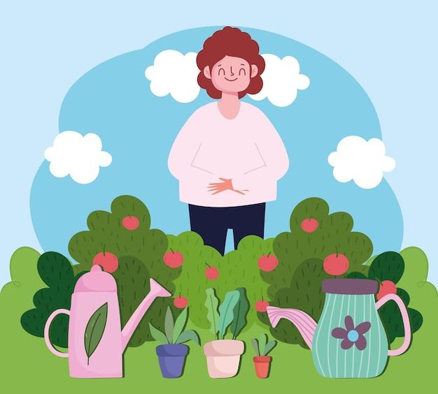 Giardinaggio, donna felice con annaffiatoio piante in vaso nell'illustrazione di erba
