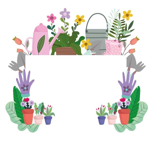 Hobby di giardinaggio e banner fai da te con strumenti, cassa di verdure e illustrazione di piante