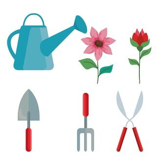 Set di icone di giardinaggio, piantagione di giardini e tema della natura