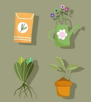 Set di icone di giardinaggio annaffiatoio piante e semi di imballaggio disegnati a mano illustrazione a colori