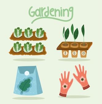Icone di giardinaggio piantagione di cavoli carote guanti e semi illustrazione a colori disegnata a mano