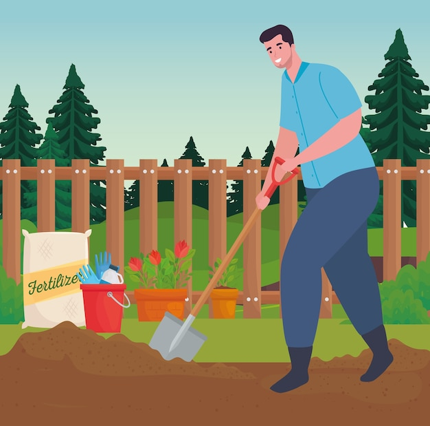 Uomo di giardinaggio con design pala, piantagione di giardini e natura