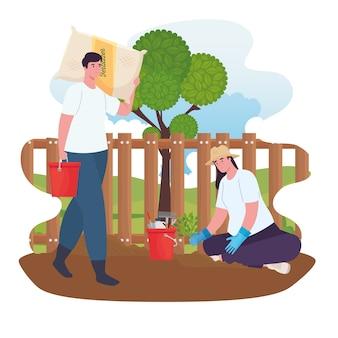 Uomo e donna di giardinaggio con design di secchi, piantagione di giardini e natura