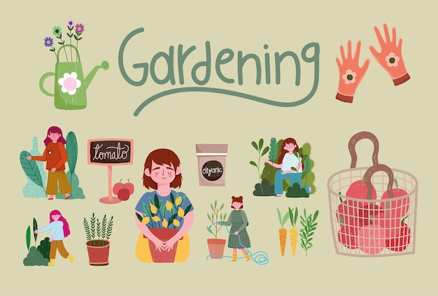 Giardinaggio, persone giardino natura piante carote guanti strumenti illustrazione