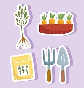 Piante da giardinaggio carote confezione semi e strumenti adesivi disegnati a mano illustrazione a colori