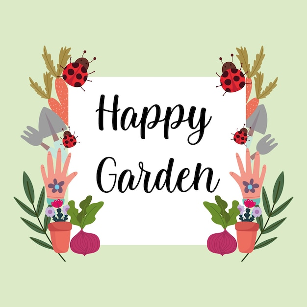 Piante da giardinaggio fiori guanti pala rastrello coccinella verdure modello banner illustrazione