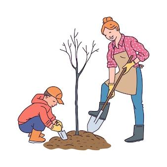 Giardinaggio e piante che crescono con il concetto di bambini con personaggi dei cartoni animati di donna e bambino piantare albero