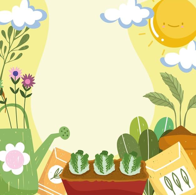 Piante da giardinaggio e annaffiatoio