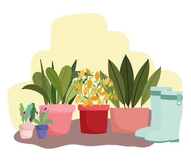 Illustrazione di fiori di piante in vaso di giardinaggio e stivali di gomma