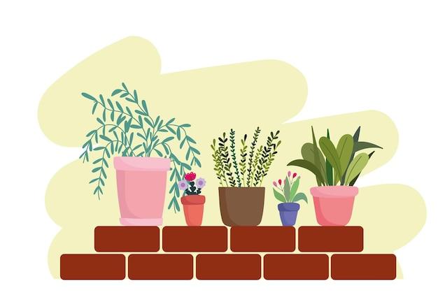 Piante e fiori in vaso di giardinaggio sull'illustrazione dei mattoni della parete