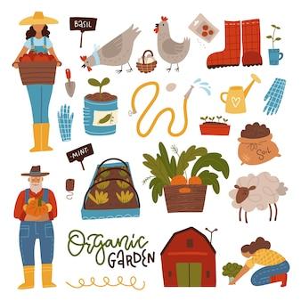 Set creatore di scene di giardinaggio di persone in giardino con attrezzature e forniture per piante da raccolto donna e uomo animali da fattoria letto da giardino piatto