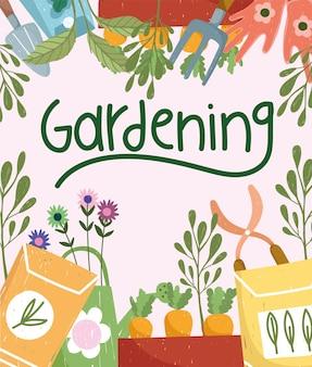 Semi di giardinaggio semi di carote forbici fiori piante natura illustrazione a colori disegnata a mano