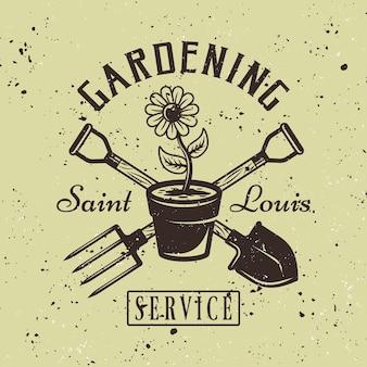 Emblema colorato di vettore di servizio di giardinaggio con il vaso di fiori su fondo strutturato verde