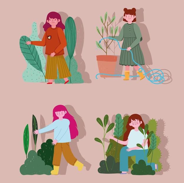 Giardinaggio, set ragazze con piante natura spruzzando acqua illustrazione