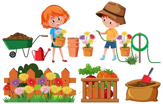 Insieme di giardinaggio con i bambini e fiori su fondo bianco