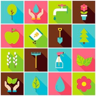 Icone variopinte della primavera di giardinaggio. illustrazione di vettore. insieme della natura di elementi rettangolari piatti con ombra lunga.