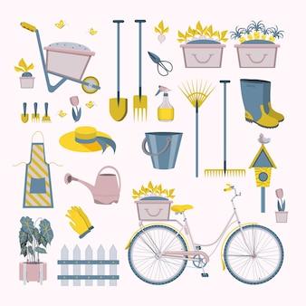 Icone degli strumenti di giardinaggio dell'agricoltura o della famiglia del giardino del coltivatore. colorate attrezzature da giardino