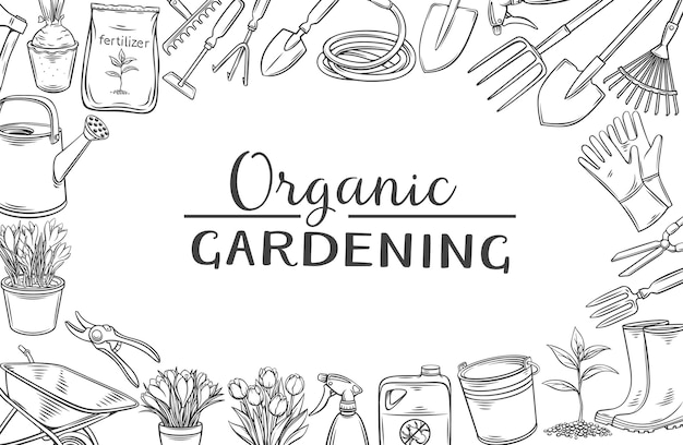 Illustrazione monocromatica del profilo della disposizione degli attrezzi da giardinaggio